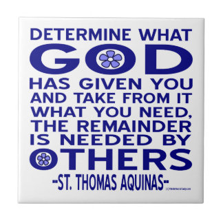 St Thomas Aquinas citationstecken Kakelplatta