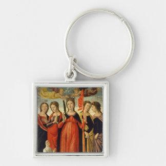 St Ursula och fyra Saints (tempera på panel) Fyrkantig Silverfärgad Nyckelring