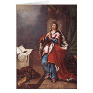 St. Varvara (Barbara) vid Vladimir Borovikovsky Hälsningskort