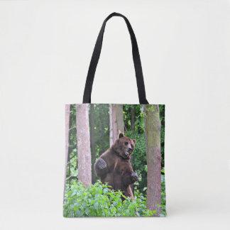 Stå Grizzly i skogen Tygkasse