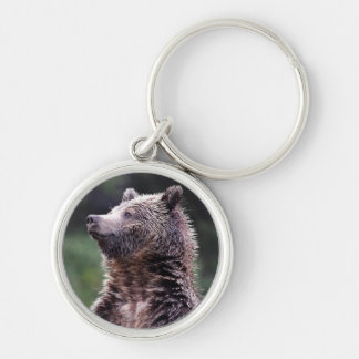 Stå Grizzlybjörn Rund Silverfärgad Nyckelring