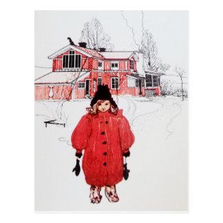 Stå i vintersnö vykort