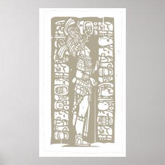 Stå Mayan träkloss Poster