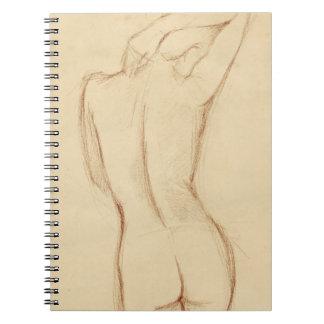 Stå näck kvinnlig teckning antecknings böcker