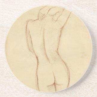 Stå näck kvinnlig teckning glasunderlägg i sandsten