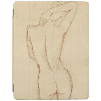 Stå näck kvinnlig teckning iPad skydd