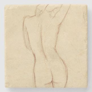 Stå näck kvinnlig teckning stenglasunderlägg