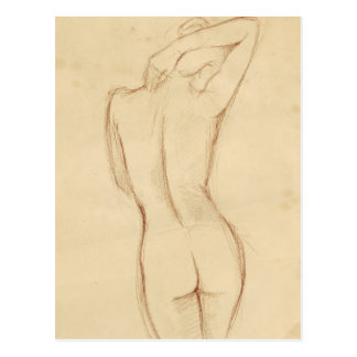 Stå näck kvinnlig teckning vykort