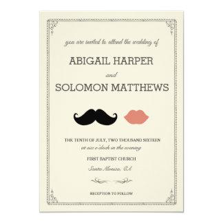 stache + kyss - mustasch & läppar som gifta sig 12,7 x 17,8 cm inbjudningskort