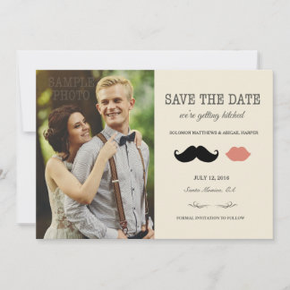 stache + kiss —Mustache and Lips Save the Date