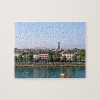 Stad av Basel i den Schweitz souvenir Pussel