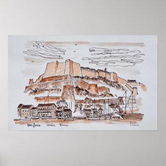 Stad av Bonifacio | Corsica, frankrike Poster
