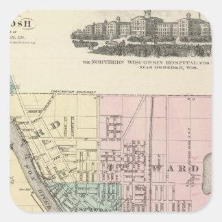 Staden av Oshkosh, länet placerar av winnebagoen Fyrkantigt Klistermärke