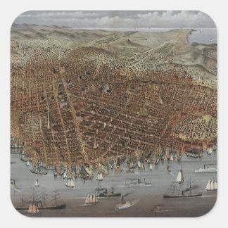Staden av San Francisco Kalifornien från 1878 Fyrkantigt Klistermärke