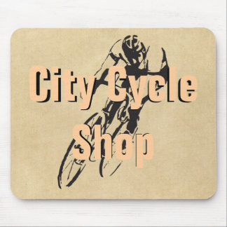 Staden cyklar shoppar personligcykeltävla musmatta