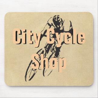 Staden cyklar shoppar personligcykeltävla musmattor