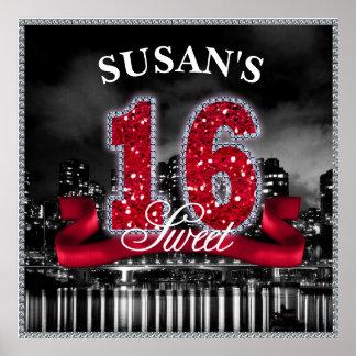 Staden tänder sweet sixteen röd ID242 Poster