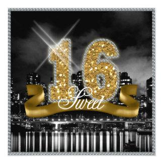 Staden tänder sweet sixteenguld ID243 Fyrkantigt 13,3 Cm Inbjudningskort