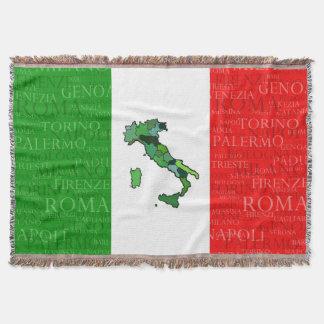 Städer, karta och flagga av italien filt