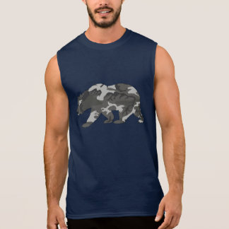 Stads- Camo mönsterbjörn T-shirts Utan Ärmar