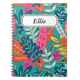 Stads- färgrikt djungellövverkmönster anteckningsbok med spiral