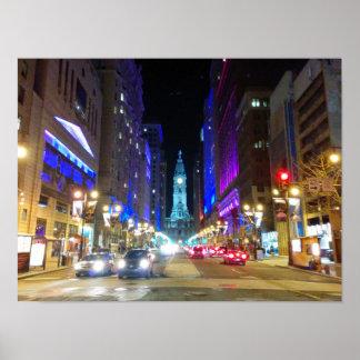 Stadshus i Philadelphia under natten Poster