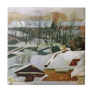 Stadstak i vinter av Ivan Shishkin Kakelplatta