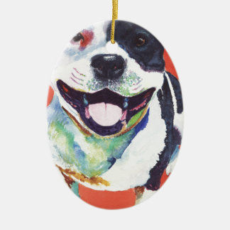 Staffordshire Terrier Julgransprydnad Keramik