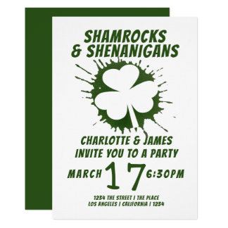 Ståhej för Shamrocks för st patricks dayparty 12,7 X 17,8 Cm Inbjudningskort
