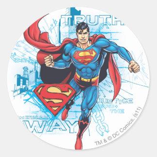 Stålman med logotypen runt klistermärke