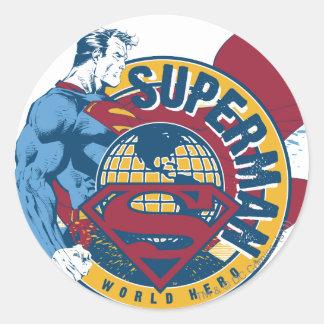 Stålman - världshjälte runt klistermärke