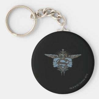 Stålmannen Stylized | döskallar - blåttlogotyp Rund Nyckelring