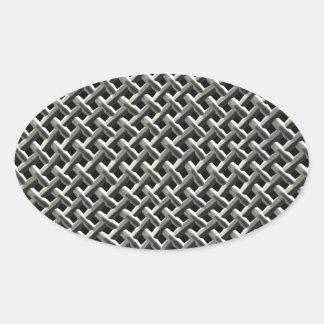 Stålsätta metall kopplar ihop mönster (fauxen) ovalt klistermärke