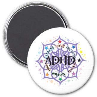 Stam- ADHD-lotusblomma Magnet Rund 7.6 Cm