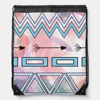 Stam- Aztec geometrisk konstvattenfärgbakgrund Gympapåse