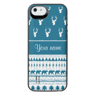 Stam- Aztec mönster för blåttvinterhjort iPhone SE/5/5s Batteri Skal
