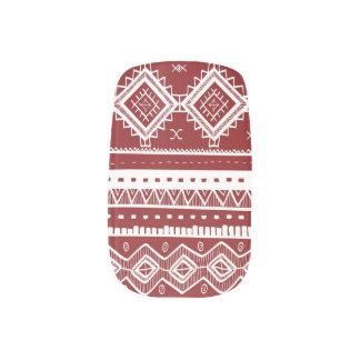 Stam- Aztec röd snöremönsterslyna) Nail Art