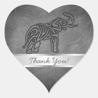 Stam- elefant för läder hjärtformat klistermärke