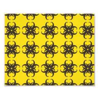 Stam- Fractalmönster för gult och för svart Fototryck