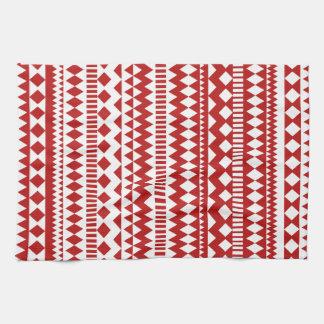 Stam- geometriskt mönster för Aztec Andes röd vit Kökshandduk