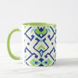 Stam- mönster för chic geometrisk grön blåttikat mugg