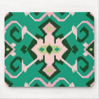Stam- mönster för chic geometrisk grön rosa ikat musmatta