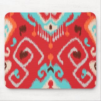 Stam- mönster för modern röd för turkos ikat flick musmatta