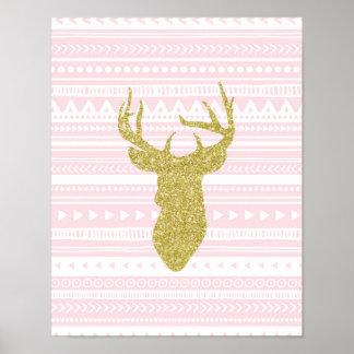 Stam- mönster för rosa guld- barnkammaredekorhjort poster