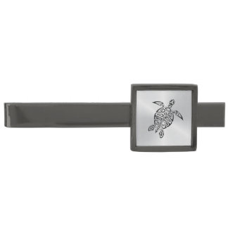 Stam- svart sköldpadda för silver slipsnål med metallgråfinish