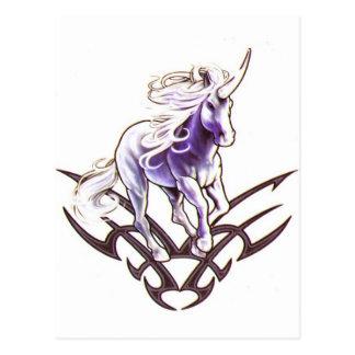 Stam- unicorntatueringdesign vykort
