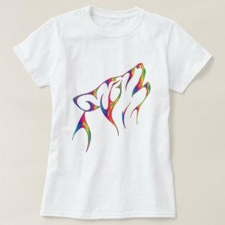 Stam- varghuvud för regnbåge tshirts