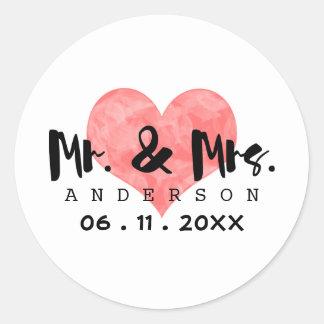 Stämplad hjärta Herr & Fru att gifta sig daterar Runt Klistermärke