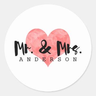 Stämplad hjärta lantliga Herr & Fru gifta sig Runt Klistermärke