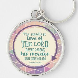 Ståndaktig kärlek av guden, rund silverfärgad nyckelring